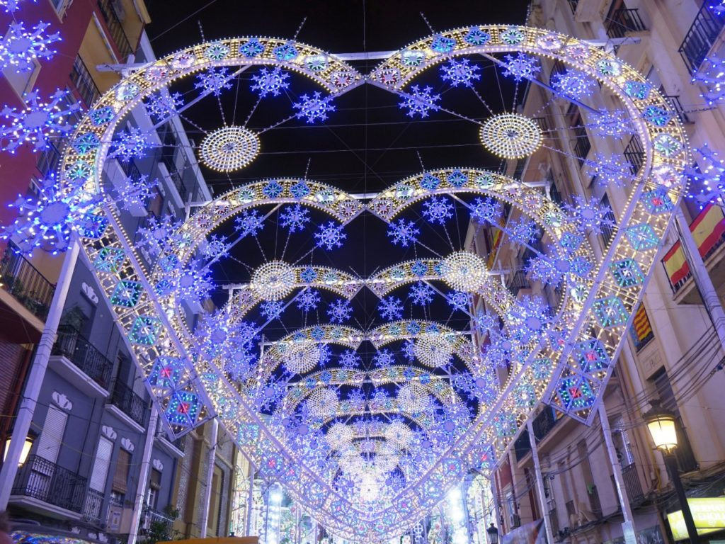 Las Fallas 2020. Light shows and main illuminated streets