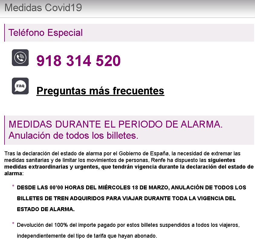 Coronavirus situation. Transport measures. Renfe changes and refunds tickets with no additional costs